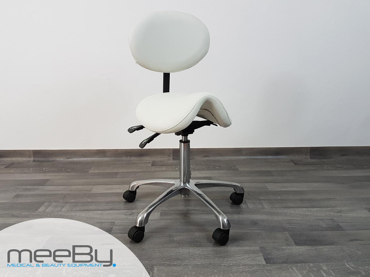 Sgabello estetica bianco regolabile con schienale sedia con rotelle