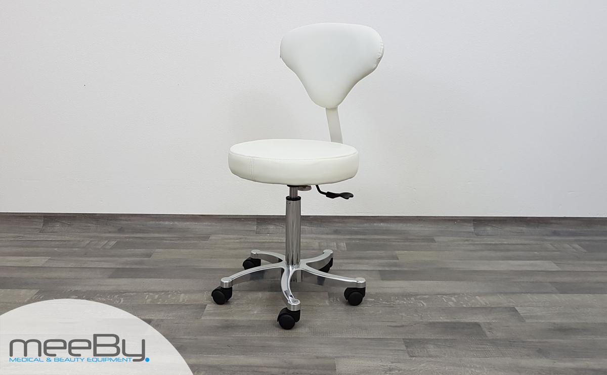 Sgabello estetista bianco schienale regolabile seduta rotonda